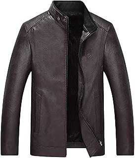 Zip Up Leather Jacket Men Stand Collar Motorcycle Outwear Warm Biker Coat