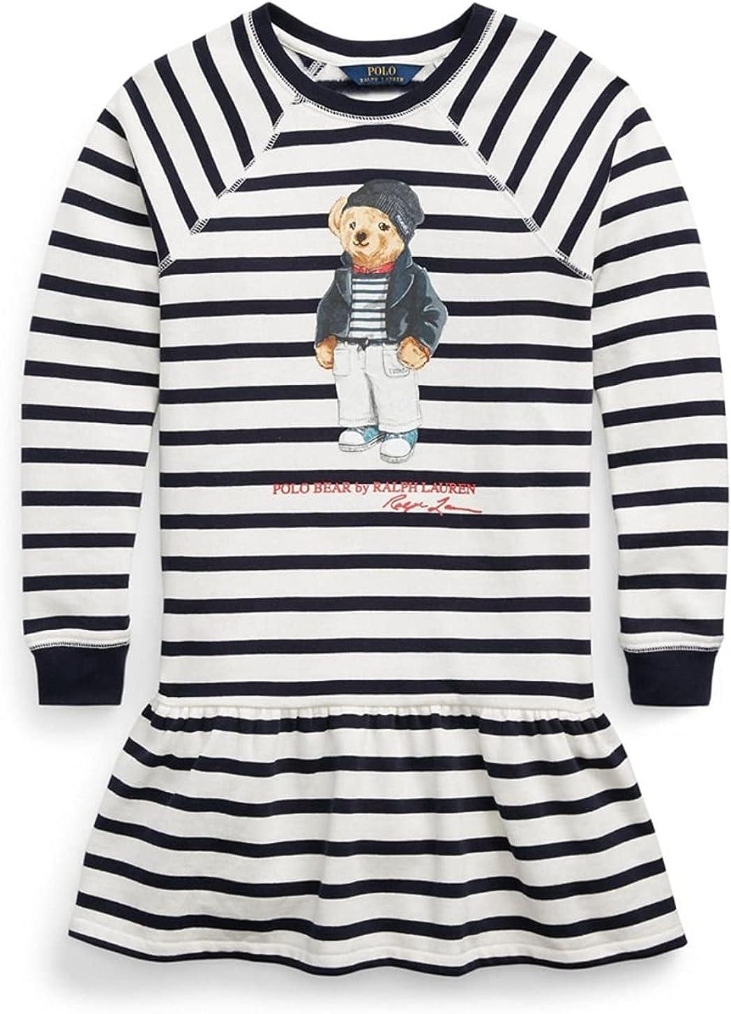 Polo Ralph Lauren Girls Fleece Bear Stripe Dress 6X
