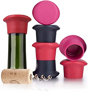 Wine Stoppers,Wine Silicone Caps Stoppers Bottle Sealer,Silicone Reusable Wine and Beverage Bottle Stoppers, Cork Replacement for Wine(Set of 6)