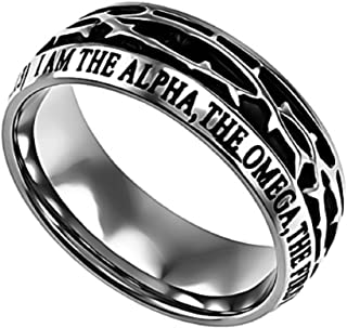 Revelation 22:13 Crown of Thorns Ring, Stainless Steel, Christian Bible Verse