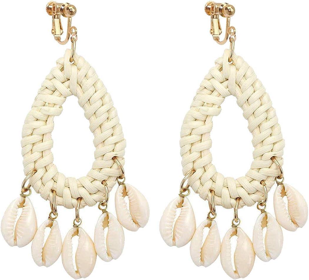 Sojewe Dainty 5 Shell Rattan Clip on Earrings for Women and Girl Jewelry Hand Woven Lightweight Straw Wicker Braid Ethnic Statement Teardrop Dangle Drop Non Pierced Ears