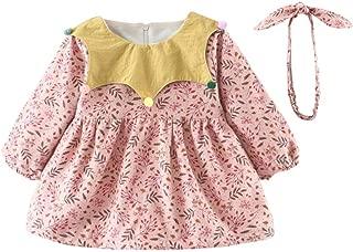 Xifamniy Infant Girls Dresses Long Sleeve Cute Pentagram Collar Plus Velvet Floral Skirt