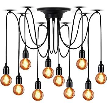 LS-C105 Light Society Tentacle 10-Light Chandelier Swag Pendant Matte Black Modern Industrial Lighting Fixture
