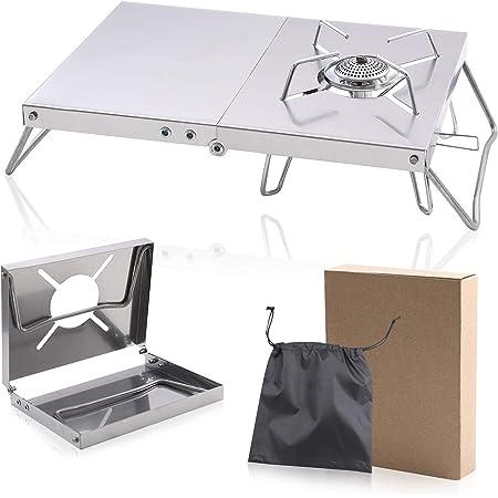 遮熱テーブル SOTO ST-310/CB-JCB/TRB250 専用遮熱板 3種類バーナー対応 シングルバーナー用 折り畳み テーブル 一台多役 ステンレス鋼 製 二つ折りテーブル コンパクト 軽量 ソロキャンプ 収納袋付き