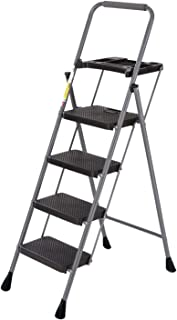 Sponsored Ad - 4 Step Ladder Tool Ladder Folding Portable Steel Frame Lightweight for Adults Indoor/Outdoor with Tool Plat...