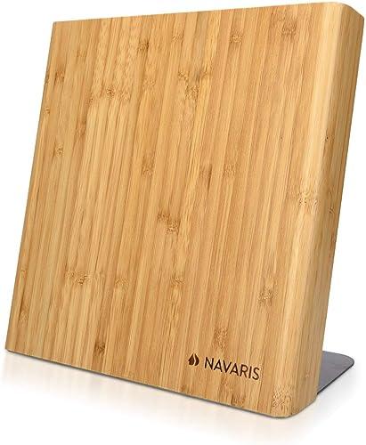 Navaris Bloc à Couteaux magnétique - Bloc aimanté 23 x 22,5 cm en Bois de Bambou - Range Couteau de Cuisine Vide - Su...