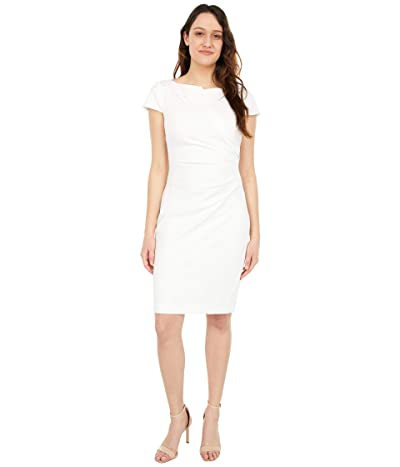 Vince Camuto Bi-Stretch Bodycon Dress with Cap Sleeve and Side Tuck (Ivory) Women