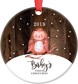 Baby's First Christmas Ornament 2019 Baby Owl Porcelain Ceramic Ornament, 3