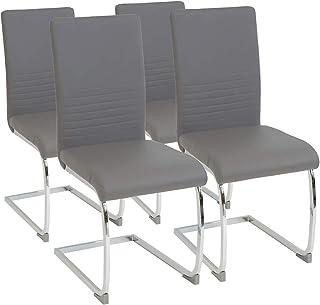comprar comparacion Albatros Silla Cantilever BURANO Set de 4 sillas Gris, SGS Probado