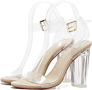 YOGLY Femmes Transparent Sandales à Talons Hauts Clear Escarpins Été Sexy High Heels Élégant Chaussure Club Soiree