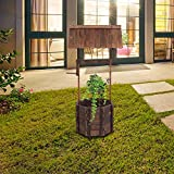 Outdoor Rustic Wishing Well Planter Rustic Flower Planter Patio with Hanging Flower Bucket Garden Yard Lawn Ornamental Outdoor Home Décor