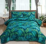 Leaves Quilt Bedding King Size Spring Leaves Print Quilt Bedspread Coverlet Green Leaf Home Decor Quilt Reversible Bedding Tropical Palm Tree Leaves Bed Set Summer Lightweight Quilt Coverlet