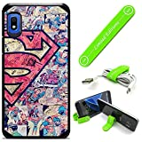 Hybrid Rugged Hard Cover Case Compatible with Galaxy [A10E] - Superman Vint Cartoon (with Free Phone Stand Gift!)