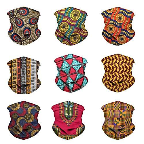 Babrukda 9 Pack Magic Scarf African Ethnic Pattern Headwrap Seamless Neck Gaiter Balaclava UV Protection Outdoor Sport Bandanas Stretchy Breathable Fabric