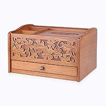 Deksel van tissuedoos Houten bruin rechthoekige tissuebox cover met kleine lade gezichtsweefsel doos for slaapkamer nacht ...