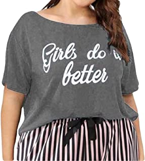 FRPE Women's Short Sleeve Casual Crew Neck Summer Letter Print Large Size Blouse T-Shirt Top