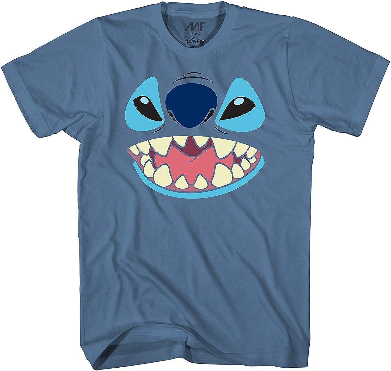Disney Lilo and Stitch Big Face Costume TShirt (Extra Large, bluee)
