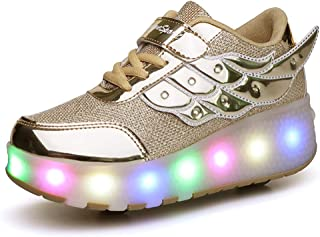 Ufatansy Uforme Kids Wheelies Lightweight Fashion Sneakers LED Light Up Shoes Single Wheel Double Wheels Roller Skate Shoes Size: 13 Little Kid