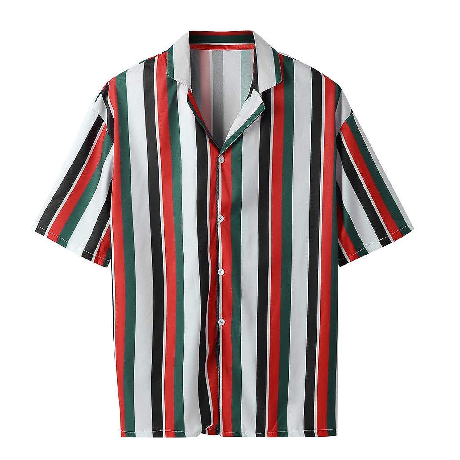 JJLIKER Mens Hipster Stripe Short Sleeve Button Down Shirts Summer Casual Tees Tops Hawaii Beach T-Shirt