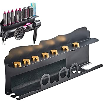 Wall Mount Holder for Dyson Airwrap Styler, for Dyson Supersonic Hair Dryer, Organizer Stand Storage Rack for Curling Iron Wand Barrels Brushes Diffuser Nozzles for Home Bedroom Bathroom