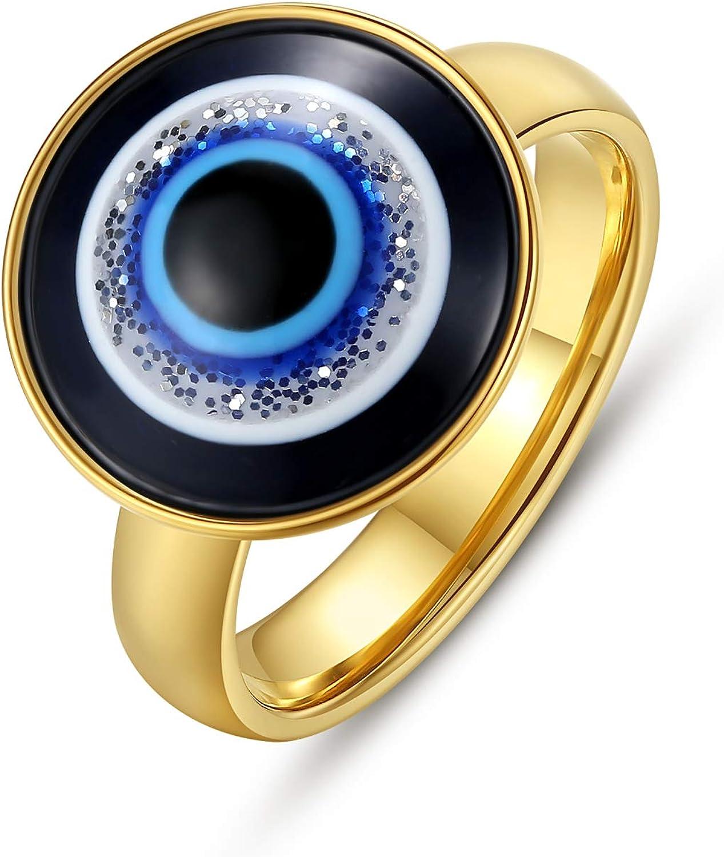 KDIZI Gold Evil Eye Ring,18K Gold Plated Stainless Steel Ring for Women Girls