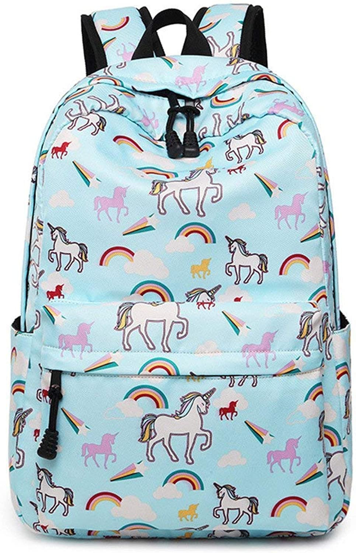 Willsego Waterproof Nylon Women Backpack Flamingos Printing Rucksack Unicorn Daily Travel Laptop Bagpack College School Cute Book Bag White (color   Sky bluee1)