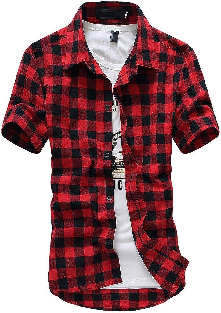 Photno Men Plaid Shirt Short Sleeve Top Casual Slim Fit Button Down Dress Shirts Plus Size