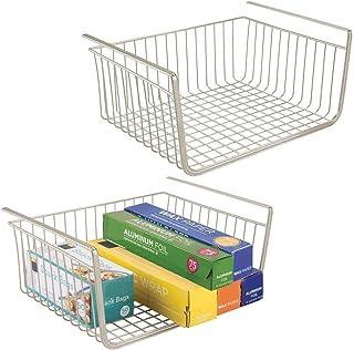 mDesign panier suspendu en métal inoxydable (lot de 2) – grande boite de rangement pour cuisine et garde-manger – panier g...