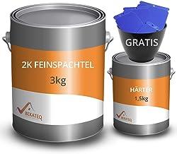 BEKATEQ Fijnspatel BK-110EP 2K epoxyhars, 4,5 kg l plamuurmassa voor vloer, auto en boot, scheurtjes en gaten vullen, snel...