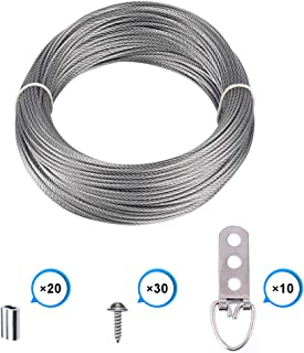 Picture Frame Hanging Wire Kit, Stainless Steel Wire with 10 Pieces 3 Holes D-Ring Picture Hangers with Screws and 20 Pieces Aluminum Crimping Loop Sleeve, Supports up to 110 Lbs (1.5 mm x 65 Feet)