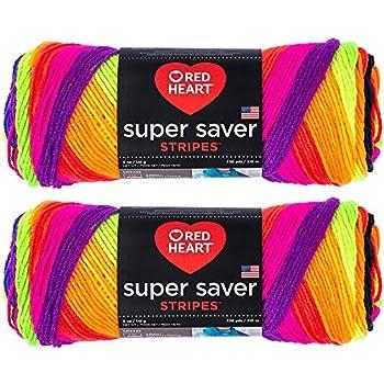 Bulk Buy  Red Heart Super Saver  2-Pack   Bright Stripe 5 oz Each Skein