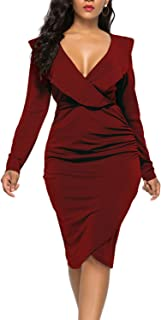 WIWIQS Women's Sexy V Neck Bodycon Long Sleeve/Sleeveless Ruffle Dress Front Slit Bandage Plus Size Midi Club Dresses