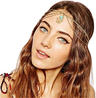 Yalice Boho Turquoise Head Chain Gold Hamsa Headband Hair Acessories for Women and Girls
