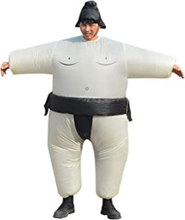 YIHONG Halloween Inflatable Sumo Wrestler Wrestling Suits Costume - Blow Up Costumes for Adults White