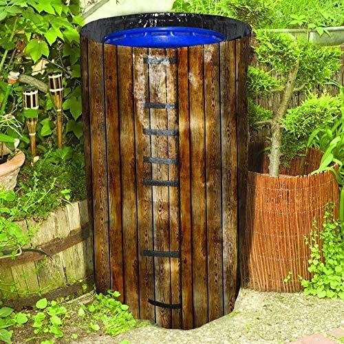 NOOR Regenfass-Hülle aus Kunststoff I 120l mit hölzernem Fotodruck I Recycelbare Schutzhülle für Gartenfässer für den ganzjährigen Gebrauch