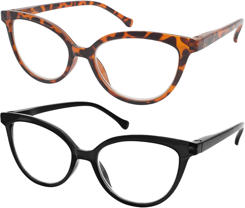 TBOC Gafas de Lectura Presbicia Vista Cansada - [Pack 2 Unidades] Graduadas +3.50 Dioptrías Montura de Pasta [Carey + Negra] de Diseño Moda Mujer Lentes de Aumento Leer Ver de Cerca con Bisagra Muelle