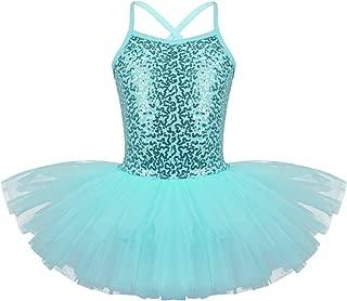 TiaoBug Girls Sequined Camisole Gym Ballet Dance Tutu Dress Sweetheart Ballerina Leotard Skirted Dancewear Costumes