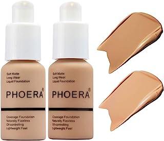 2 Pcs Liquid Foundation 30ml Natural Moisturizing Highlighting Matte Oil Control Concealer Facial Blemish Concealer Color Changing Phoera Foundation for Women Girls, 104 Buff Beige & 105 Sand
