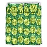 RQPPY Leichte Mikrofaser-Bettwäsche-Set, Ananas, 3-teilig, Bettbezug, Polyester, weiß, 66x90 inch