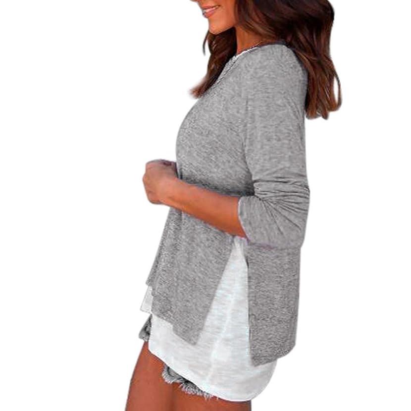 IEason Women top Women Long Sleeve Loose Button Trim Blouse Patchwork Round Neck Tunic T-Shirt