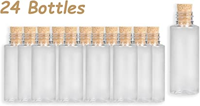 4E's Novelty Small Plastic Sand Bottles with Cork, 2 oz, Arts and Crafts Jars, 3 inches Pack of 24