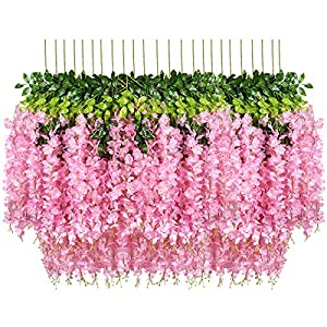 Pauwer 24 Pack Artificial Wisteria Vine Ratta Fake Wisteria Hanging Garland Silk Long Hanging Bush Flowers String Home Party Wedding Decor (Pink)