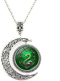 EONGERS Moon Pendant Harry Slytherin Snake Green Silver Charm Crescent Necklace Jewelry Gift for Women