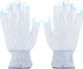 LED Handschuhe, DAXIN Party Handschuhe Leuchtende Handschuhe Licht handschuhe mit bunten Fingerleuchten und 6 Blinkmodus für Sport, Party, Tanz, Geburtstag, Disco, Rave Clubs (weiße)