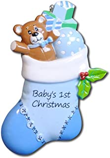 Personalized Baby's 1st Christmas Blue Stocking Ornament - Teddy Bear Ball Toy in Cozy Knitted Stuffer Peppermint First New Mom Shower Gift Grand-Son Kid - Free Customization (Boy)