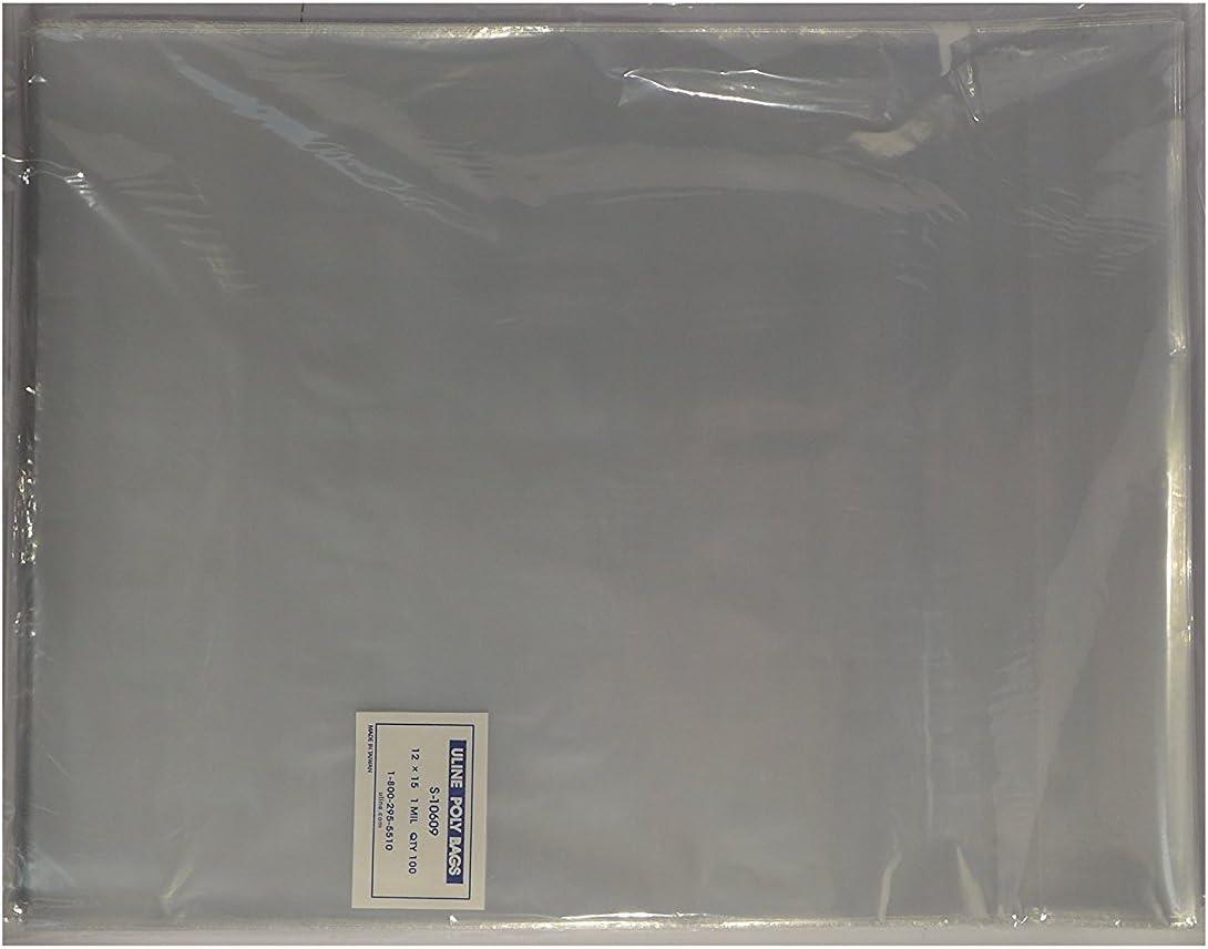 "12/"" x 15/"" Poly Clear Plastic T-Shirt Apparel Bags 1 Mil 2/"" Back Flap Lock Uline"
