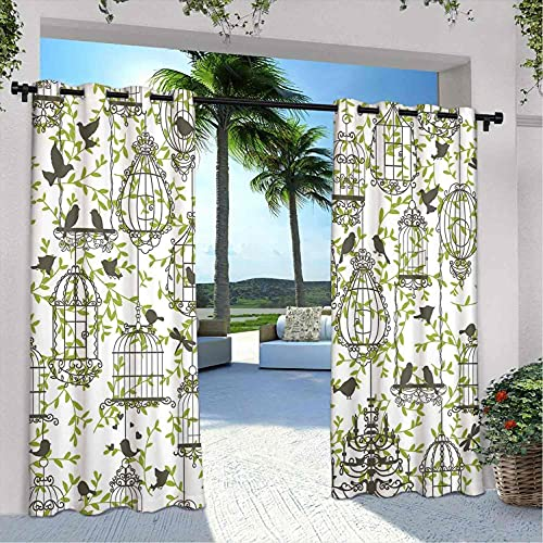 Vintage Outdoor Patio Curtains, Antique Lovely Birdcages on Ivy Leaf Love Couple Escape Freedom Modern Illustration, Weatherproof, fade proof outer curtain, W120 x L108 Inch Navy Green