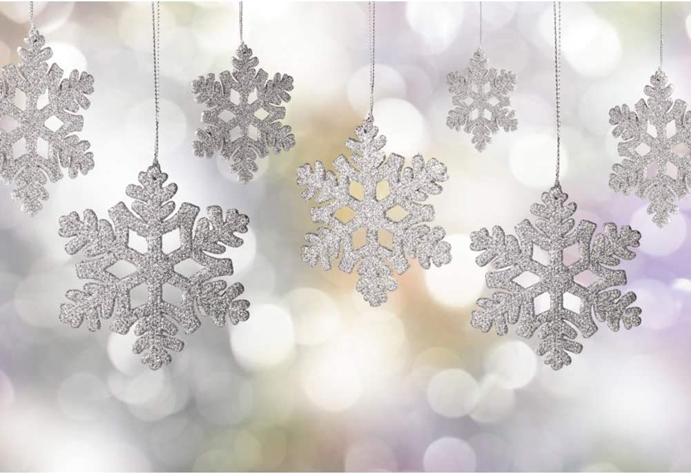 GoEoo 6x4ft Dreamy Snowflake Bokeh Halos Background Holiday Winter Forest Falling Snow Covered Tree Photography Backdrop Snowfield Landscape Sunlight Merry Christmas New Year Photo Studio Vinyl Props