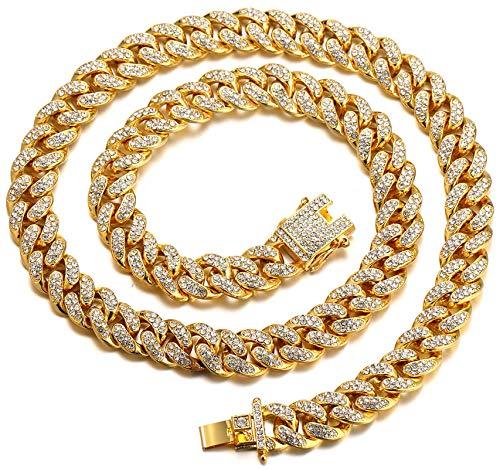 Halukakah Cadena de Oro para Hombre,Cadena Cubanos 13MM Iced out Chapado en Oro Real de 18k Gargantilla Collar 75cm,Cz Completa Juego de Puntas de Corte de Diamante,con Caja de Regalo