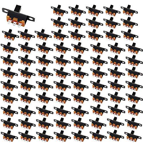 HUAYAO 180 Piezas Mini Interruptor Deslizante de Panel 3 Pines 2 Posiciones, Micro Interruptor SPDT, 0.5A 50V DC, Utilizado en Pequeños Proyectos de Bricolaje Juguetes Eléctricos Linternas
